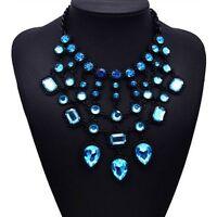 Aqua, Glassteine, Statementkette, Halskette, Collier, Modeschmuck in schwarz