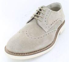 Scarpe classiche da uomo beige in camoscio con stringhe