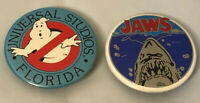 Universal Studios Vintage 1990 1984 Jaws Ghostbusters 2 Pinback Pin Button Lot