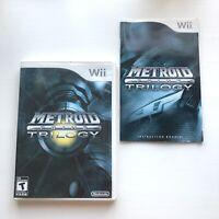 Metroid Prime Trilogy Nintendo Wii Authentic Original Case Artwork Manual - ONLY