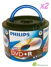 100 PHILIPS Blank 16X DVD+R Plus R Logo Branded 4.7GB Disc Spindle with Handle