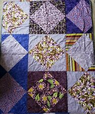 Handmade Purple Iris Garden Lap Quilt Throw Blanket Wall Hanging Floral Cotton