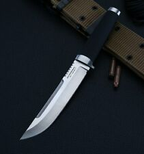 Rambo Tactical Army Knife Hunting Fixed Blade Rescue Forged Steel Leather Sheath