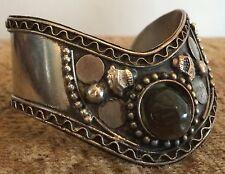 Vintage Silver Look Chunky Hippy Boho Bracelet Bangle Wrist Cuff Precious Stone