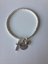 Bijoux Cross, 'Love' & Heart Charm Silver Plated Stacking Bracelet ~ Handmade