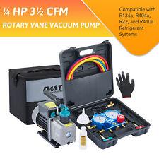 Omt 14hp Hvac Vacuum Pump Kit Ac Manifold Gauge Set For R410a R134a R22 R404a