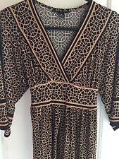 Women's Dress Geometric Vintage Kimono Sleeves Clothes, One Size, Black Beige