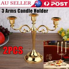 2x 3 Arm Candle Holder Metal Candlesticks Table Candelabra Wedding Xmas Party AU