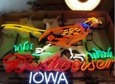 "New Budweiser Iowa Pheasant Bar Beer Neon Sign 32"" Artwork Light Real Glass Open"