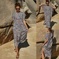 Women Fashion Sexy Loose Slit Maxi Dress Lady Casual Printing Ball Gown Dresses