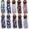 Women Cold Shoulder Floral Print Elegant Short Sleeve Long Maxi Dress Sundress A