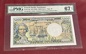 FRENCH PACIFIC TERRITORIES 5000 FRANC 1996 PMG SUPERB GEM UNC 67 EPQ PICK 3g