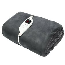 LUXURY ELECTRIC HEATED COSY THROW BLANKET WITH DIGITAL CONTROLLER & TIMER, GREY