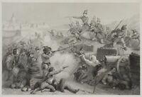 RUHIERRE; GIRARDET, Belagerung Roms durch die Franzosen, 19. Jh., Stahlstich