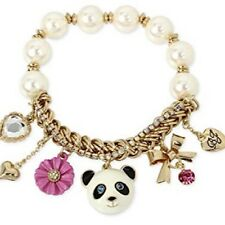 Betsey Johnson Gold Pearl Beaded Panda Charm Bracelet Brand New in Box