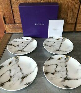 "NIB Set 4 Prouna Kiyasa 6.5"" Marble Venice Fog Canape Dessert Plate Saucer 7689"