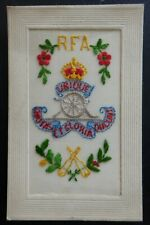 ROYAL FIELD ARTILLERY UBIQUE WWI Military Embroidered Silk Postcard