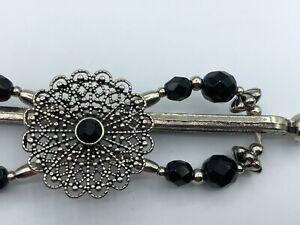 Lilla Rose Flexi8 Hair Clip - Silver + Black + Filigree -MEDIUM (#1951-52)
