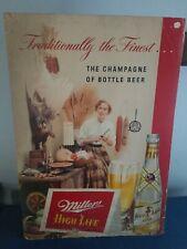 1950s Miller high life beer cardboard sign lady pheasant duck decoy advertising