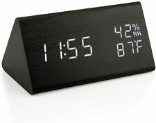 Wooden Alarm Clock, Wood LED Digital Desk Clock with Time Temperature, Humidity