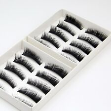 10 Pairs Handmade Natural Fake False Eyelashes Eye Lashes Jet Black ( 1 box )
