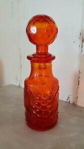 Genie Bottle Super Rare Amberina Mini MCM Decanter Miniature Empoli Art Glass