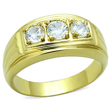 Cz Wedding Band Ring Size 8 - 13 Hcj Men'S Gold Tone Stainless Steel 3 Stone