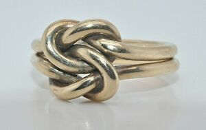 9ct gold double knot ring size L