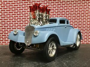 MUSCLE MACHINES Rare VHTF '33 Willy's Coupe' Primer Blue Build It Kit 1/18 only