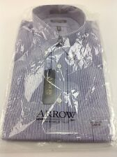 NWT Arrow Men's Shirt Long Sleeve Wrinkle Free Pinpoint Blue and White 16 34/35