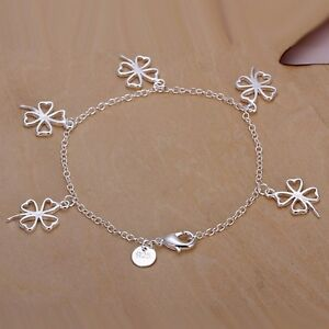 Silver Plated Five Shamrock Bracelet Bangle.925 Sterling  8 inches in length