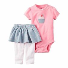 Baby Girl Carter's Cupcake Bodysuit & Chambray Skirted Pants Size 6 Months