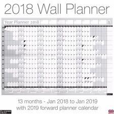 Gráfico de pared anual 2018 Planificador Anual Año regruesadora en Gris + Gratis Calendario De Escritorio