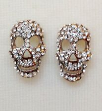 SILVER SKULL CLIP EARRINGS / CLEAR CRYSTALS STONES / STATEMENT CLIP ON