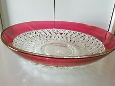 Vintage Indiana Glass Diamond Point Ruby Salad Serving Bowl Clear w Ruby Band
