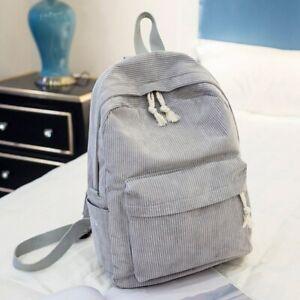 Female Corduroy School Backpack Girls Rucksack Knapsack Women's Fabric Backpack