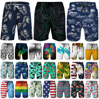 Mens Print Quick Dry Swim Trunks Summer Surfing Beach Shorts Boardshorts Briefs
