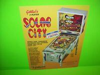 Gottlieb SOLAR CITY Original 1977 Flipper Arcade Game Pinball Machine Sale Flyer