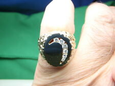 .30 Natural Diamond Mens Half Moon Nugget Ring 14k Yellow Gold Heavy 11.5 Grams