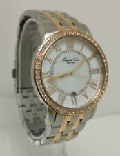 Vtg Kenneth Cole KC4972 Rose Gold Tone Mother of Pearl Crystal 36mm Ladies Watch