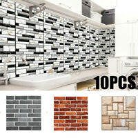 10X 3D Wall Sticker Tile Brick Self-adhesive Soft Office Decal Art Home