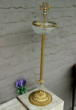 Vintage german brass Crystal glass Ashtray stand 1960s
