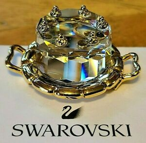 Swarovski Crystal Memories Mini Gold Plated Cake Figurine, w/ Gold Platter, Box