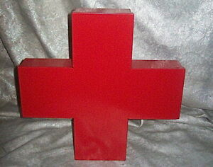 CAPPELLINI of ITALY RED  STEEL CROSS MEDICINE CABINET 1st AID - THOMAS ERICKSSON