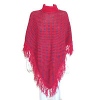Vintage Poncho Magenta Blue Woven Knit Turtleneck Fringe Hem Sweater sz OS /288