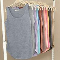 Women Sleeveless Bamboo Cotton Blouse Tank Top Comfy Loose Vest Tops Shirt UK
