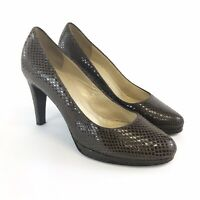 Russell Bromley Size UK3.5 Brown Animal Print Leather Slip On Court Heels Shoes