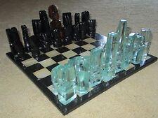 "Black Mahogany Obsidian Gem Stone Carved Chess Set 4""K Figurine Statue Board HTF"