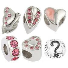 Birthstone Hearts Beads and Charms for European Charm Bracelets Steel Pink Set 1