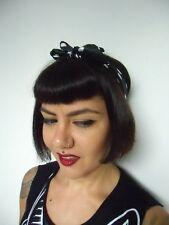 Foulard cheveux carré satiné 40% soie 60% polyester noir pois blanc rétro pinup